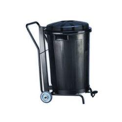 Cubo de basura con ruedas y pedal negro 120 L.