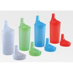 Set de vasos con tapa de boquilla larga. Rojo