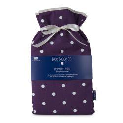 Botella de agua caliente grande violeta punteada
